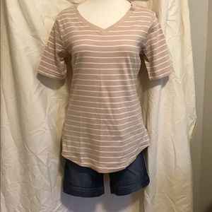 Isaac Mizrahi Live!  Striped Pima Cotton T-Shirt